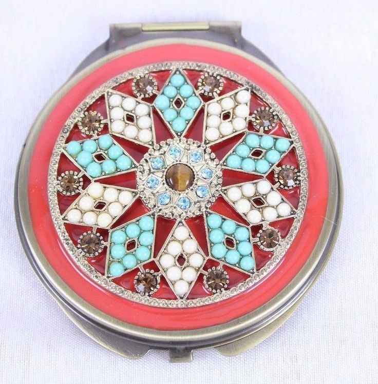 Spring Street Compact Magnify Mirror Enamel Crystal Southwestern Coral Turquoise #SpringStreet