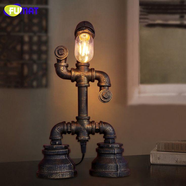 FUMAT American Vintage Industrial Waterpipe Table Lamp Decorated Study Eyecare Desk Lamp Bar Cafe Creative Robot Table Lamp #Affiliate
