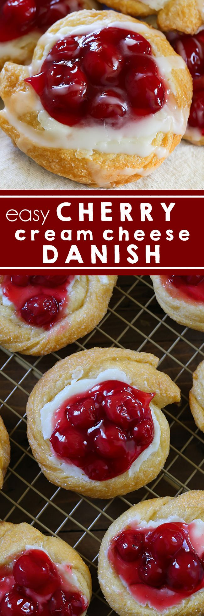 Cherry Cream Cheese Danish is an easy homemade breakfast pastry filled with cream cheese and cherry pie filling. Holiday Breakfast I Pastry I Danish I Cherry Pie I Cream Cheese  #breakfast #pastry