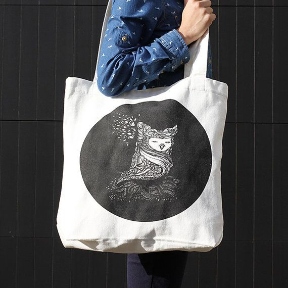 Owl's Portrait Canvas Tote Bag by ReneeChin on Etsy