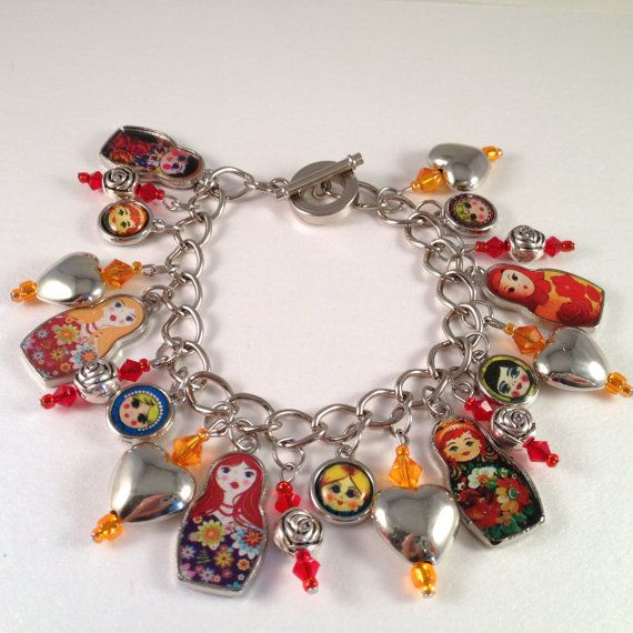 Matryoshka Doll Charm Bracelet on Etsy, $28.00