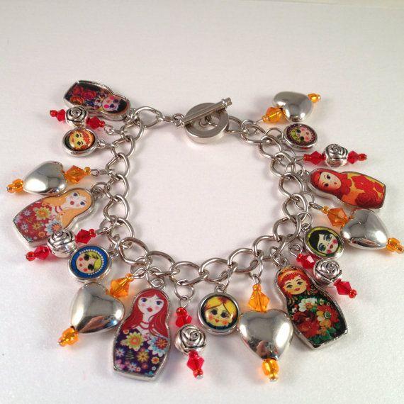 Matryoshka Doll Charm Bracelet. Etsy.  Sold.  I wish I knew where she found the matryoshka charms!  I would make my own!