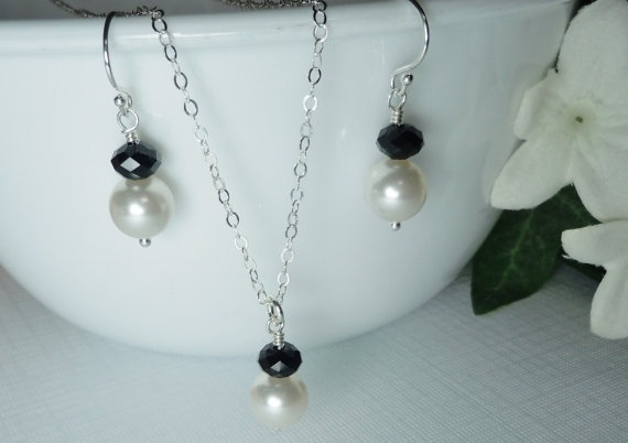 Pearl Earrings and Necklace SET  STERLING by QueenMeJewelryLLC, $38.99