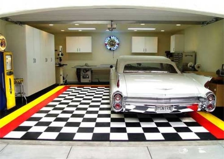 Interior Garage Designs With Nice Floor And White Cabinet For Awesome And  Interesting Garage Design Inspiring Ideas