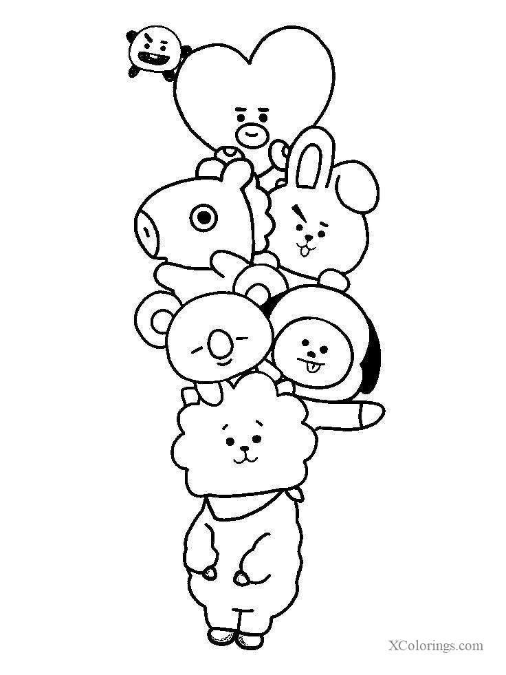 Bt21 Coloring Pages Outline Bts Drawings Cute Doodle Art Doodle Art Designs