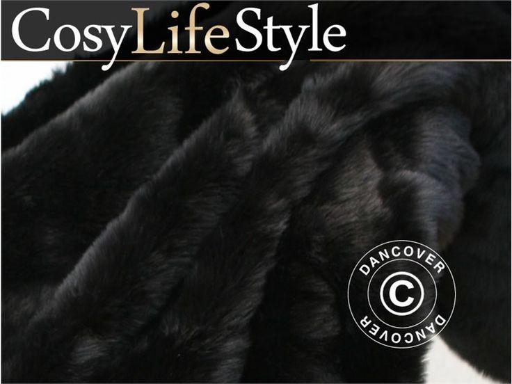 Faux Fur Blanket 130x165 cm Black