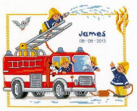 Fire Brigade Birth Sampler - Sew and So - Vervaco