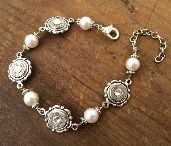 Bullet Bracelet - Bullet Jewelry - Dainty Silver Pearl Bracelet w/ Nickel 9mm's, 38 SPL's or 40's on Etsy, $39.95