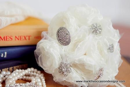 White Fabric and Crystal Bouquet from MarktheOccasionDesigns.com