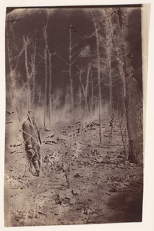 [The Wilderness Battlefield] Unknown Artist Artist: Possibly by Alexander Gardner (American, born Scotland, 1821–1882) Date: 1865–67 Medium: Albumen silver print from glass negative Dimensions: From 12.5 x 7.9 cm The Battle of the Wilderness was fought May 5-7, 1864, in the same Virginia forest disputed a year before in the Chancellorsville campaign. When the soldiers took their positions in the woods, the ground was already littered with skulls.