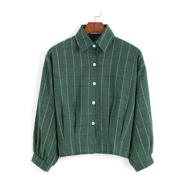 SheIn(sheinside) Green Lapel Plaid Buttons Crop Blouse (€8,94) ❤ liked on Polyvore featuring tops, blouses, shirts, green, button collar shirt, green long sleeve shirt, crop shirts, shirts & blouses and long sleeve blouse