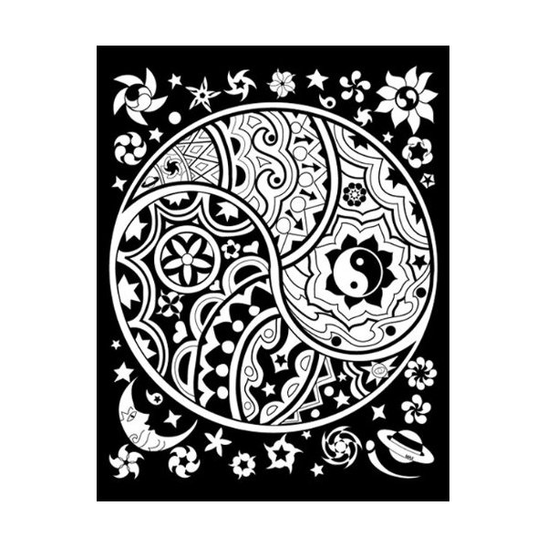 Yin yang style tattoo design pinterest coloring for Ying yang coloring pages