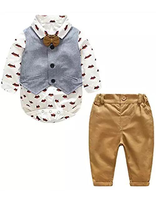 Baby Boy Gentleman Suit Cartoon Foxes Bowtie Rompers Shirt + Vest + Pants Toddler 3pcs Outfit