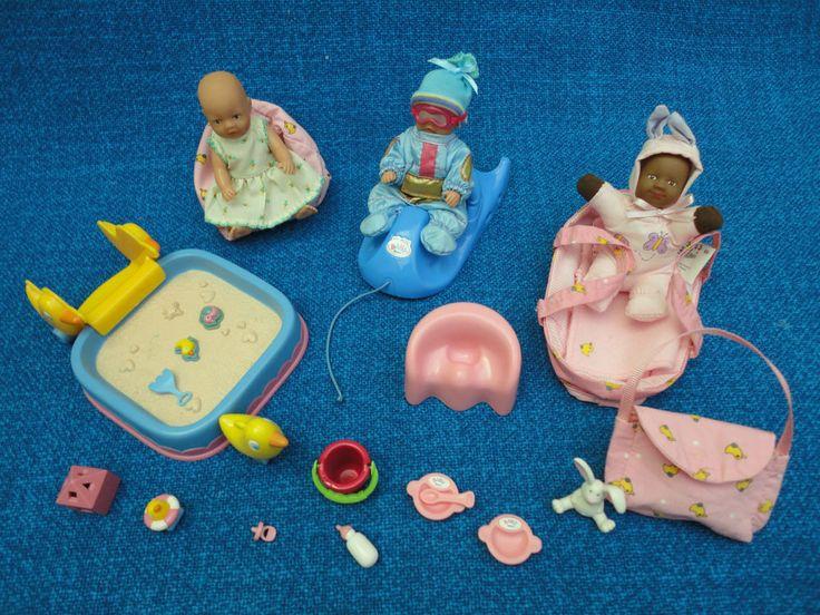 Mini Baby Born, Zubehör, Einzelteile, Sandkasten, Schlitten, 3 Püppchen !!!