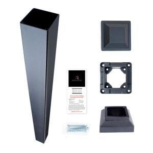 3 in. x 3 in. x 36 in. Black Powder Coated Aluminum Deck Post Kit