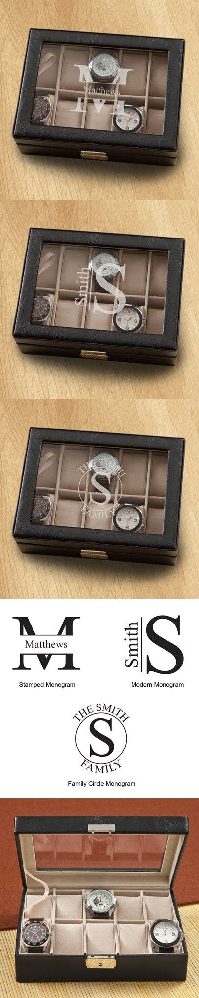 Love This : Monogrammed Men's Hinged-Lid Black Leather Watch Box