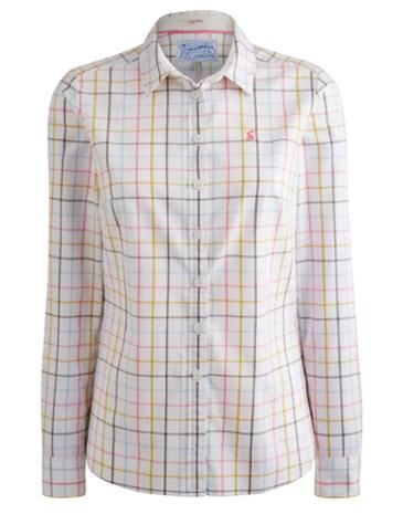 Joules Women's Cotton Oxford Shirt, Chalk Check.                     A wardrobe must-have fit for any occasion and a classic country shirt with a Joules twist. Semi-fitted and in lightly brushed cotton this shirt is ideal for sailing from work into the weekend.