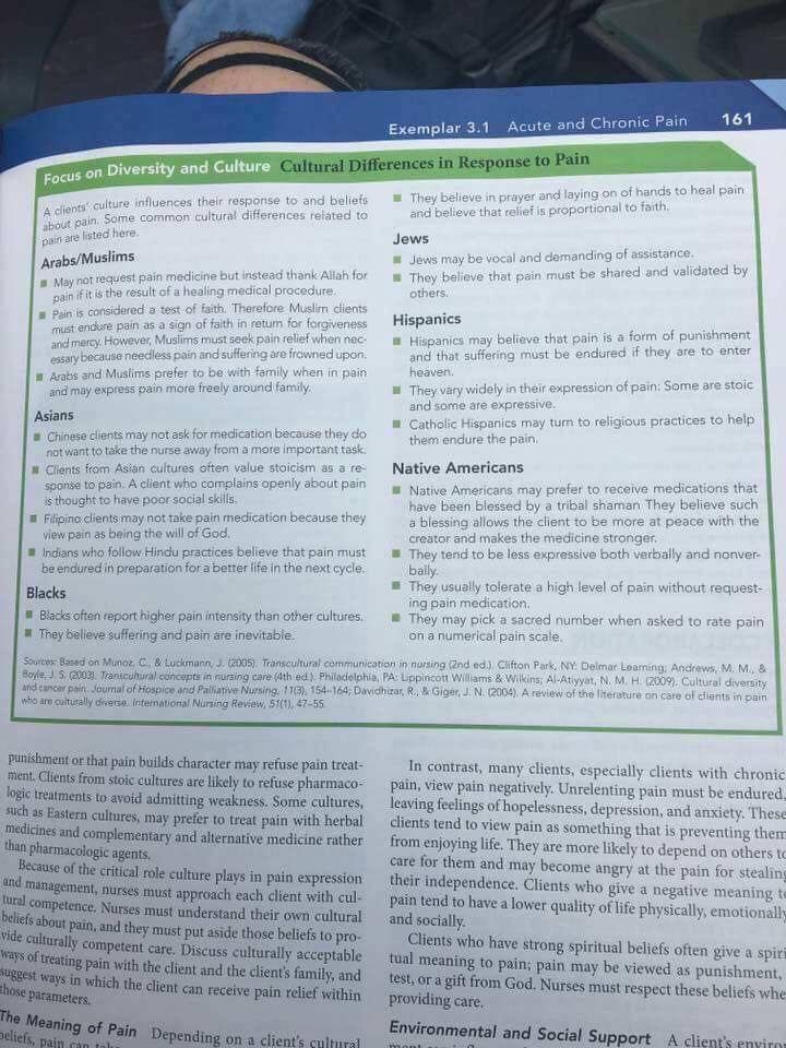 "This is an example of Essentialism as well as an example of how NOT to talk about race, and it serves as an example of conflating race with culture. The page is from a nursing textbook: Nursing: A Concept-Based Approach to Learning, Volume I (2nd Edition)  by Pearson Education.  ""A client's culture influences their response and beliefs about pain. Some common cultural differences related to pain are listed here.  ARABS/MUSLIMS -May not request pain medicine but instead thank Allah..."""