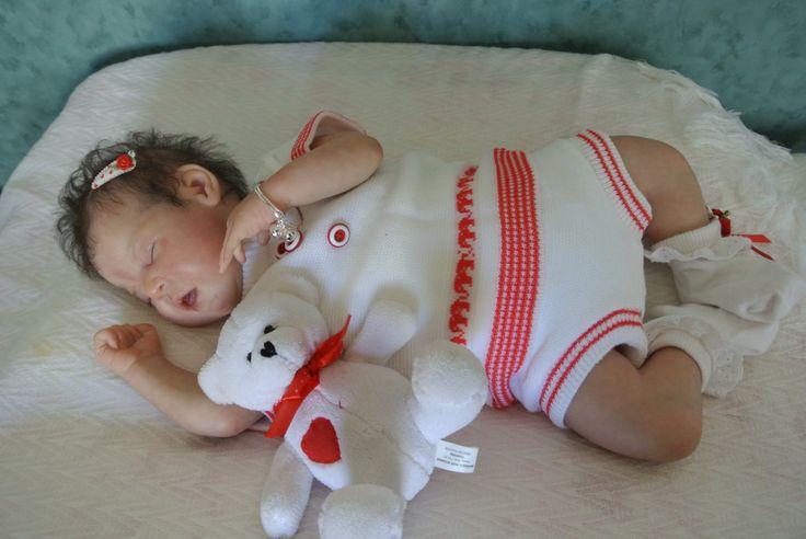 1960's vintage  retro newborn reborn nieuw pakje voor meisje of jongen wit-rood gebreide retro patroon truitje en bloomer frisse kleurtjes door Smufje op Etsy