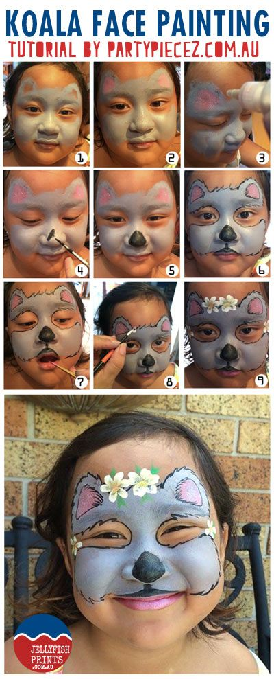 A Koala face painting tutorial in time for Australia Day 2014. Follow along to paint your childrens faces this Australia Day.