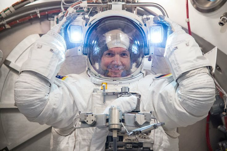 ESA astronaut Alexander Gerst tests a spacesuit at NASA's Johnson Space Center in Houston, USA.