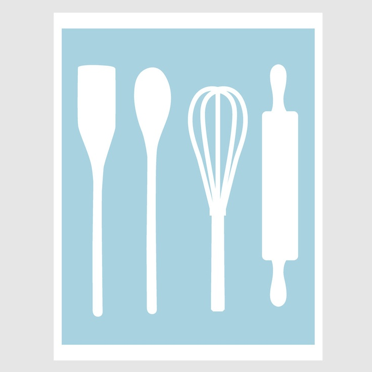 Country Kitchen Baking Utensils Illustration Paper Print