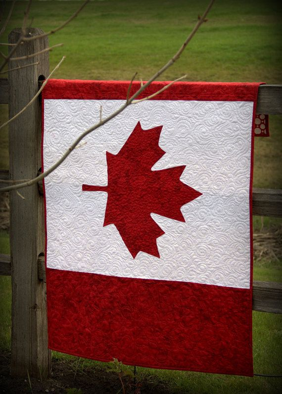 Handmade Canadian Flag Quilt
