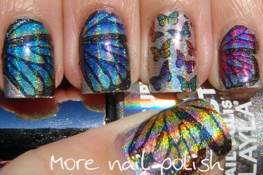 Holographic Butterflies Nail Art