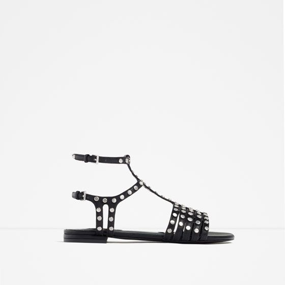 ZARA - NEW IN - FRINGED AND STUDDED FLAT SANDALS