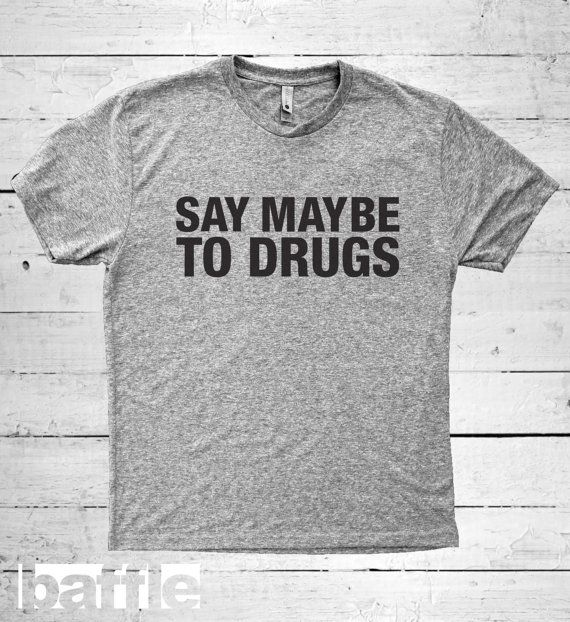 Baffle Tees / Say Maybe to Drugs Men's Tri-Blend by BaffleTeesShop