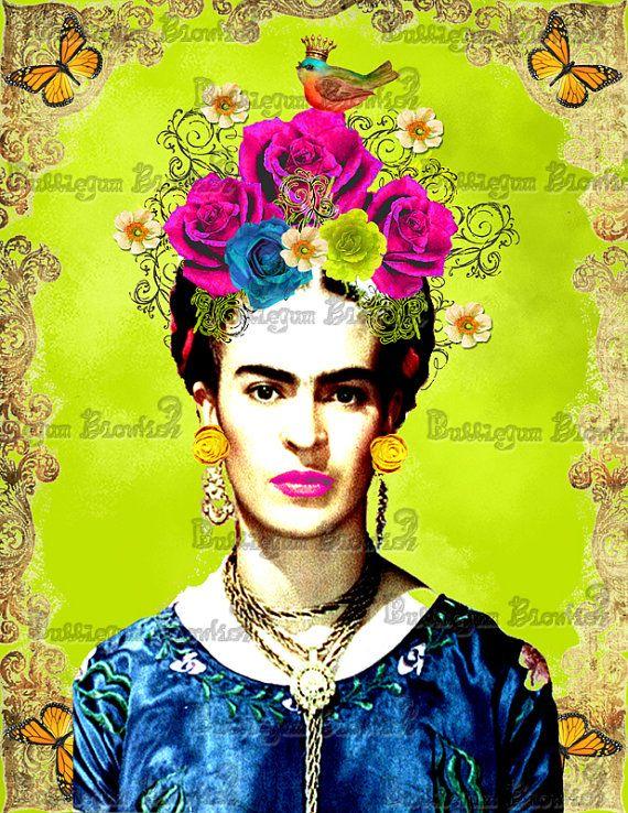 Frida Kahlo Digital art Download by BubblegumBlowfish on Etsy, $15.00