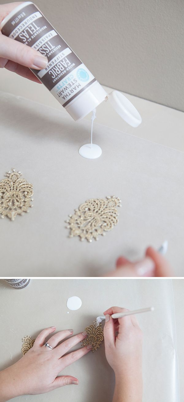 DIY lace earrings ~ so easy and very lightweight! Must paint them with MSC fabric stiffener!!! @Martha Stewart