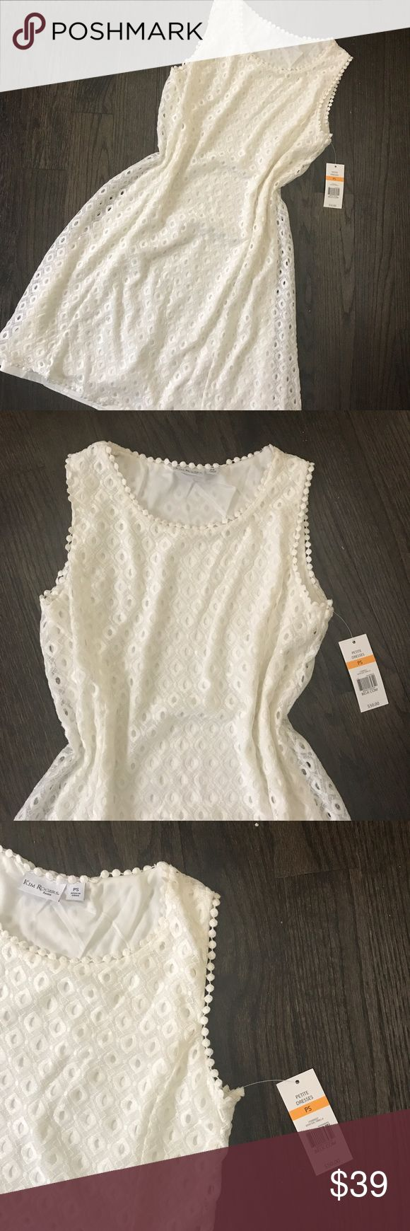 NWT Kim Rogers Sleeveless Ivory Lace Shift Dress Kim Rogers sleeveless ivory lace shift dress. Fully lined. Size PS. 34 inches long. Relaxed fit. Kim Rogers Dresses Mini