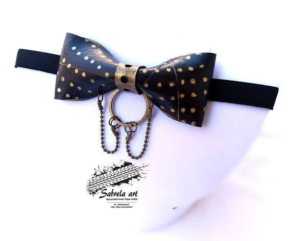 gold polka dot bow tie bike inner tube bow tie extreme bow
