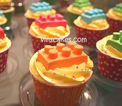 Vin's Cakes - Birthday Cake & Cupcake - Wedding Cupcake - Bandung Jakarta Online Cakes Shop: Lego Topper Cupcake for Rama's 3rd B'day!