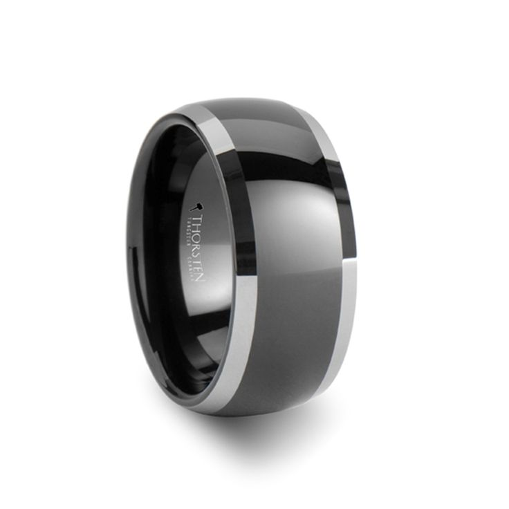 uniquetungstenrings - Maximilian Polished Edges Domed Black Tungsten Wedding Band - 10mm, $139.95 (http://uniquetungstenrings.com/maximilian-polished-edges-domed-black-tungsten-wedding-band-10mm/)