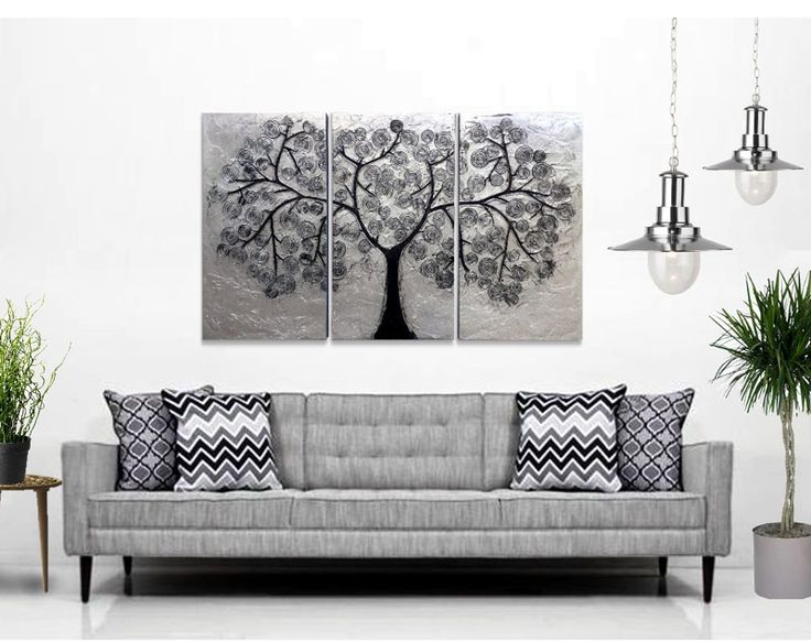 Cuadro triptico abstracto realizado en relieve y plateado - Cuadros para salones minimalistas ...