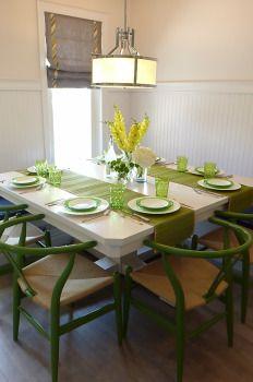 Dining Room green wishbone chairs