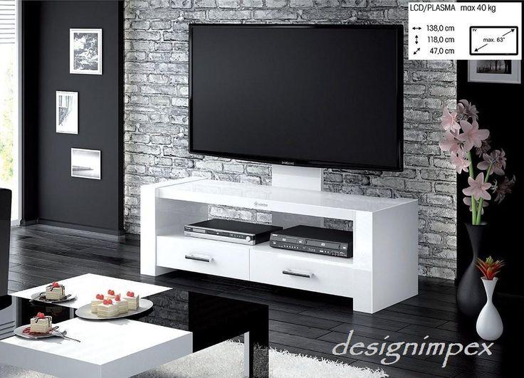 Fernsehtisch H-555 Weiß Hochglanz TV Schrank TV Möbel TV Rack LCD inkl. TV-Halterung bei Design Impex kaufen (Yatego Produktnr.: 5632cfad34fd0)