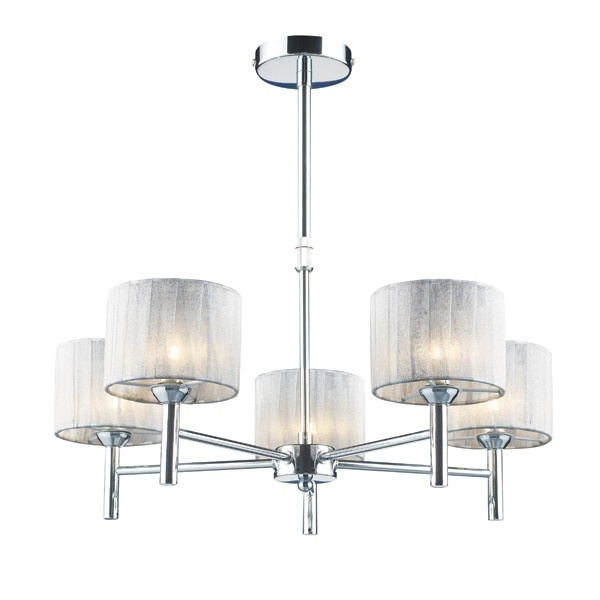 Linden 5 Light Pendant in Chrome/Silver