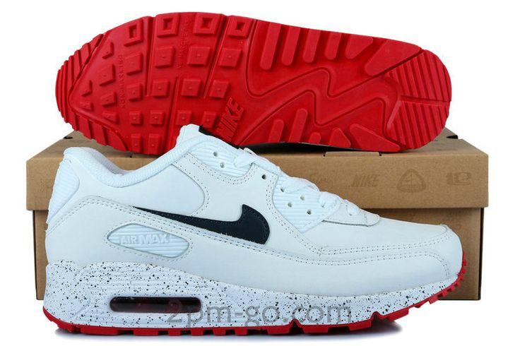 Heren Nike Air Max 90 Schoenen Wit Zwart Rood