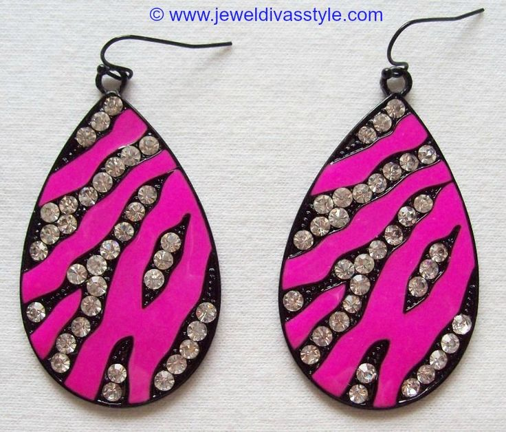 JDS - PINK ANIMAL CRYSTAL EARRINGS - http://jeweldivasstyle.com/my-personal-collection-pink-clothes-and-jewellery/