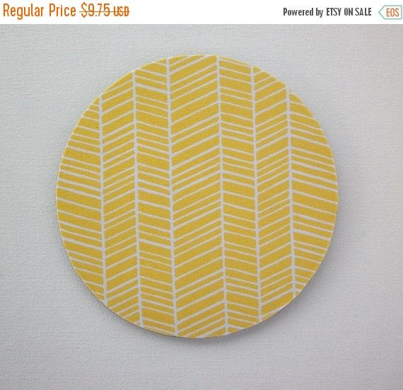 SALE -- Mouse Pad mousepad / Mat - Round or rectangle -  herringbone chevron white on yellow home office decor accessory coworker gift