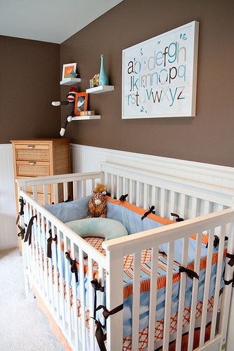 orange nursery pictures | Aqua Brown Orange Boys Nursery by Tabitha Blue