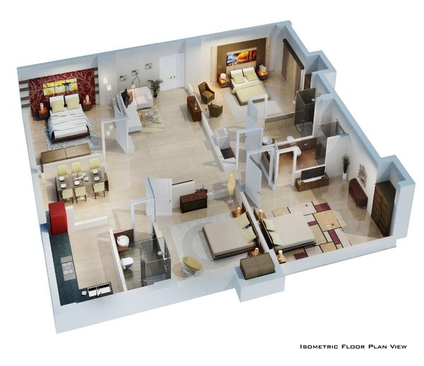 Isometric Floor Plan render in 3D by pradipta seth, via Behance