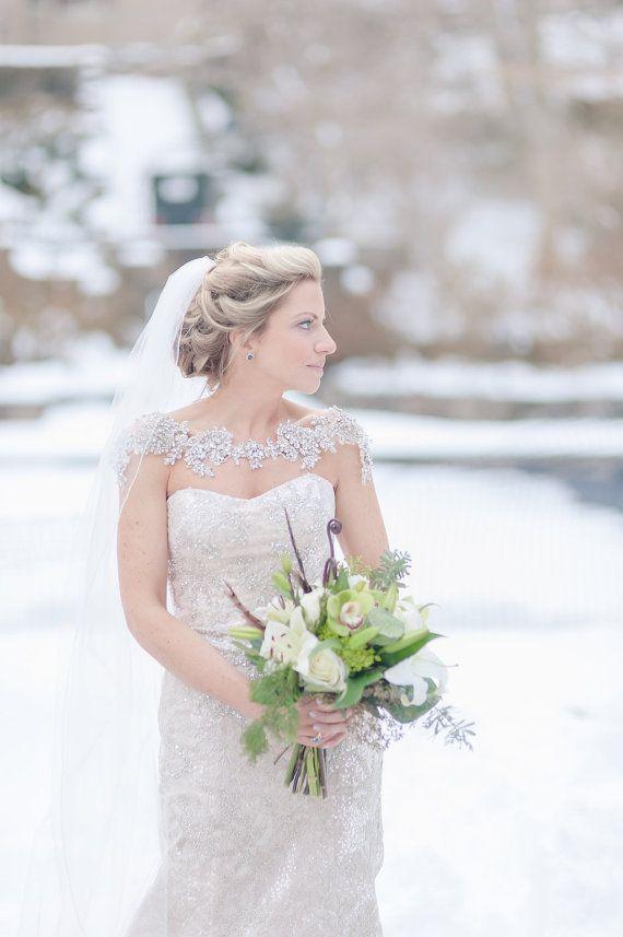 Crystal Bridal Bolero, Bridal Shoulder Necklace, Bridal Statement Jewelry, Style…