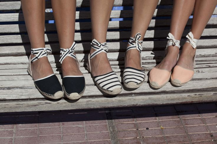 Solids or stripes? www.soludos.com - Women's tie up woven sandal