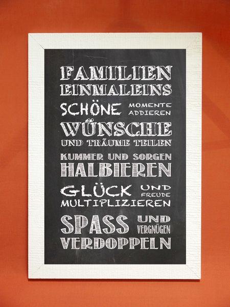 """Kunstdruck mit Spruch """"Familieneinmaleins"""" von Foto-Design & Digital-Art auf DaWanda.com"""