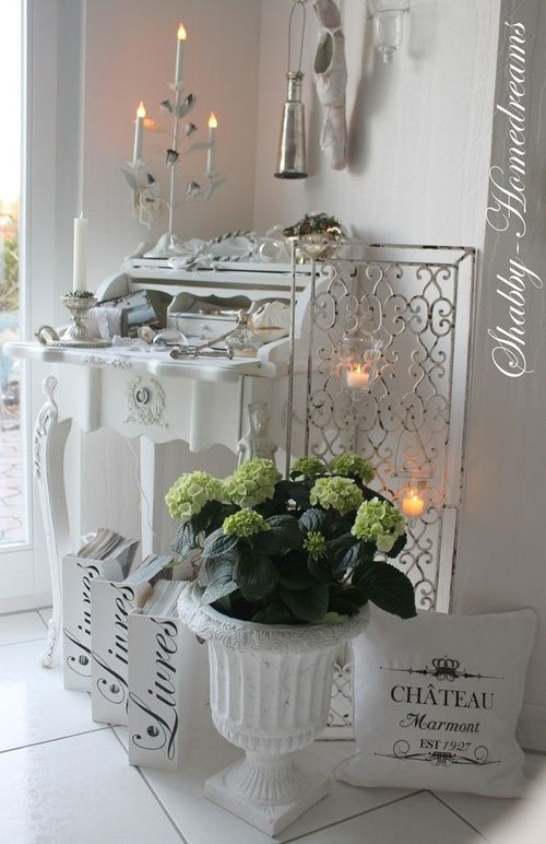 Shabby Chic bureau - lovely detail - ballet shoes, candelabra, files with French writing and much more!