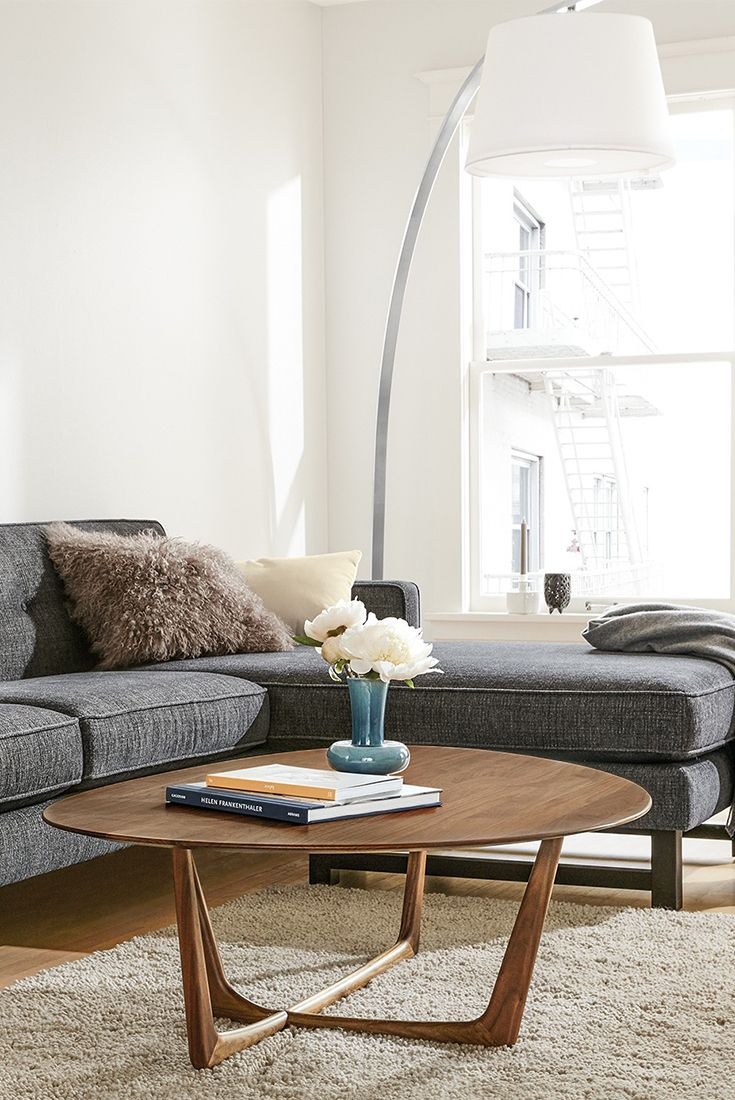 Modern sofa with reversible chaise.
